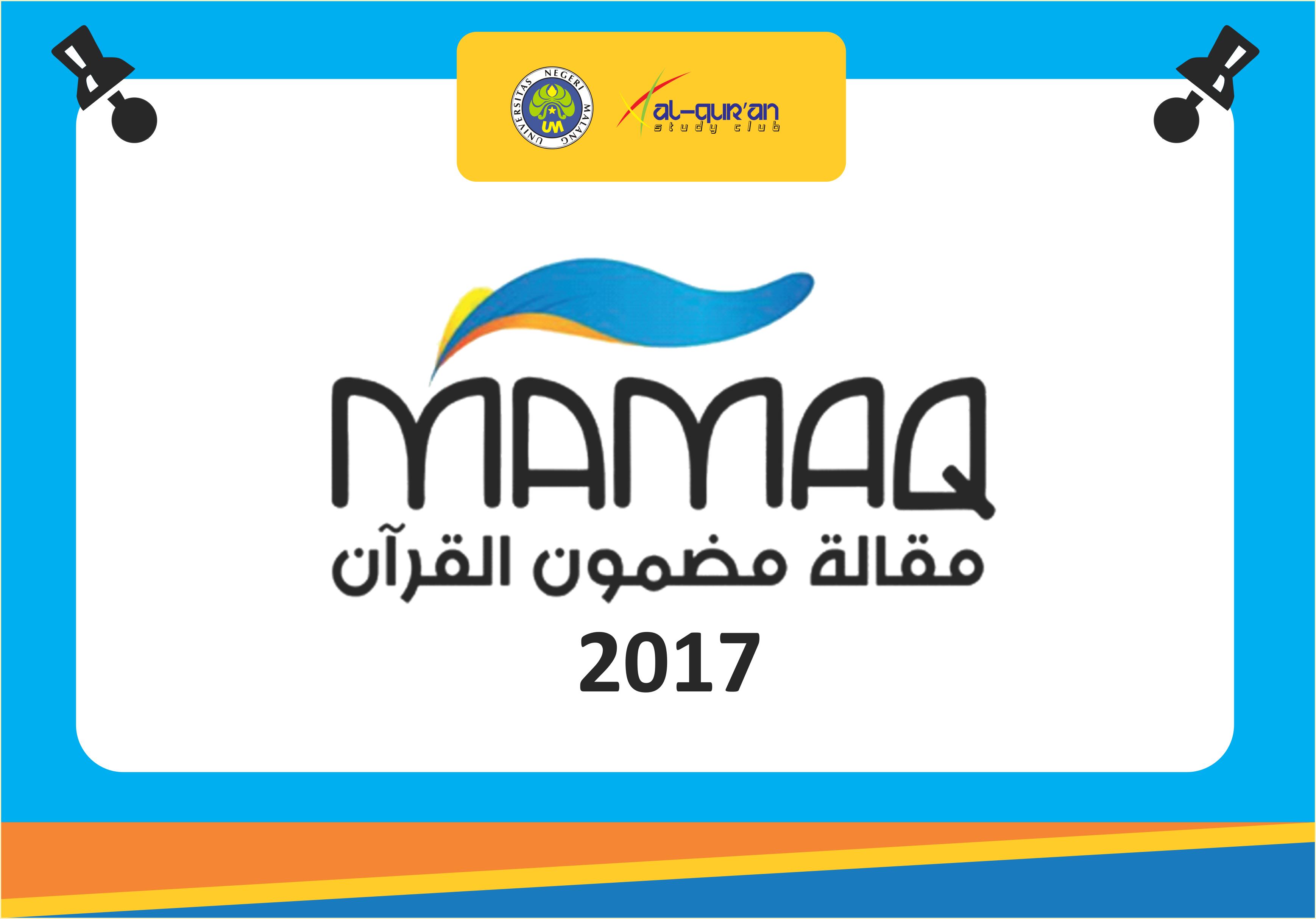 Pengumuman Lolos Fullpaper MAMAQ 2017